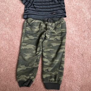 Boys camo and stripes outfit both pieces